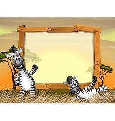Border design with two zebras in the field vector image