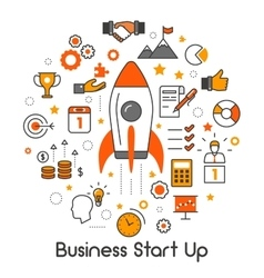 Business Start Up Line Art Thin Icons Set vector