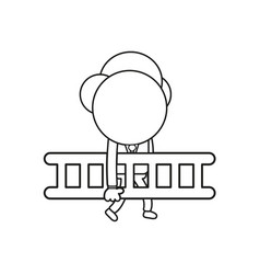 Businessman character walking and carrying wooden vector