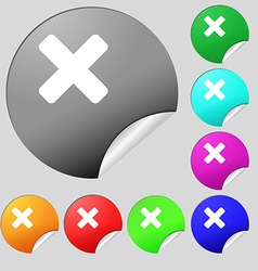Cancel multiplication icon sign Set of eight vector