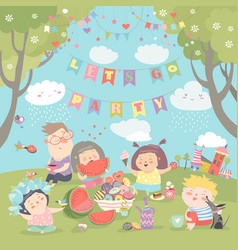 Children having picnic at the lawn vector