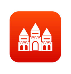 Children house castle icon digital red vector