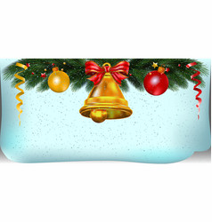 christmas poster with bell and decoration vector image