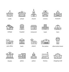 Collection touristic icons vector