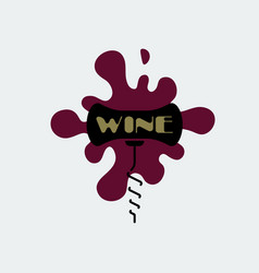 Corkscrew icon black with burgundy stain vector