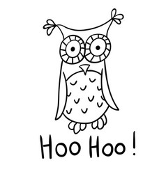 Cute cartoon wise owl vector