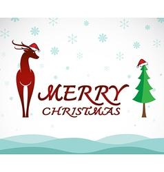 Deer merry christmas vector