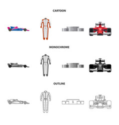 Design of car and rally icon collection of vector