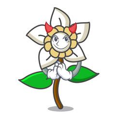 Devil jasmine flower mascot cartoon vector