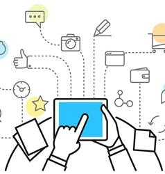 Digital marketing concept via modern digital vector