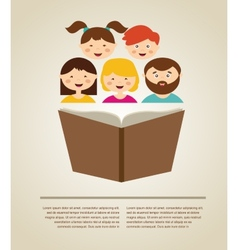 Family reading a book with place vector