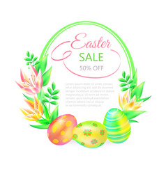 festive 3d ground easter sale easter eggs vector image
