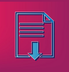 file download sign blue 3d printed icon vector image