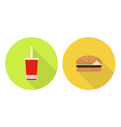 Flat cola cup and burger vector