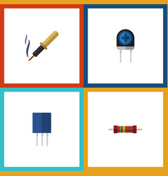 flat icon electronics set of receptacle repair vector image