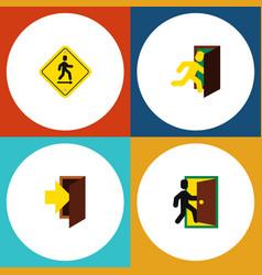 Flat icon exit set of entry evacuation open door vector