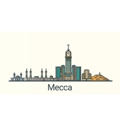 Flat line Mecca banner vector image