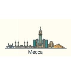Flat line Mecca banner vector
