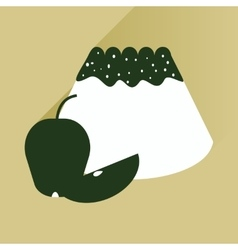 Flat with shadow Icon bun apple on bright vector