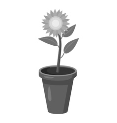 Flower icon gray monochrome style vector