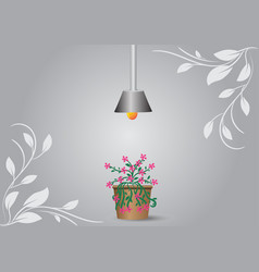 Flower pot placed under the lamp vector