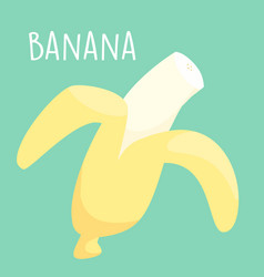 Fresh peel banana on green background vector
