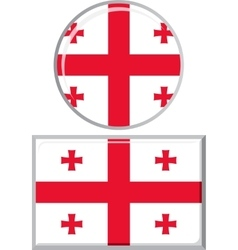 Georgian round and square icon flag vector image