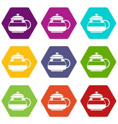 glass teapot icon set color hexahedron vector image