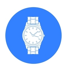 Golden watch icon in black style isolated on white vector image