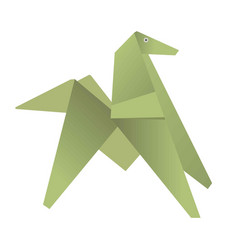 green origami of dog or horse isolated on white vector image