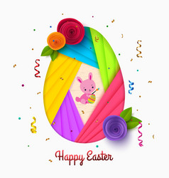 happy easter greeting card with paper egg and vector image vector image