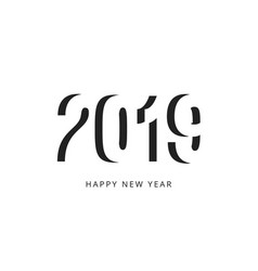 happy new 2019 year sign black negative space vector image