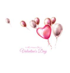 happy valentine day heart balloon ribbon vector image