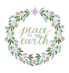 holiday card made hand lettering peace to the vector image