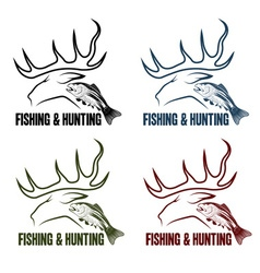 Hunting and fishing vintage emblems set vector
