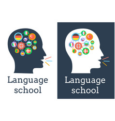 icon of the language school flags vector image