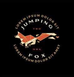 jumping fox geometric t shirt badge vintage vector image