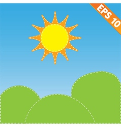 Landscape with stitch style background - - E vector
