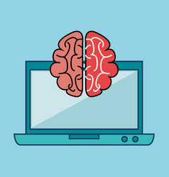 Laptop and brain design vector
