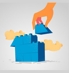 lego blocks to be assembled to build a house vector image