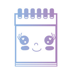 line kawaii cute happy notebook tool vector image
