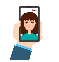 live video streaming smartphone in hand social vector image