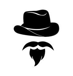 man mustache hat hipster western icon vector image
