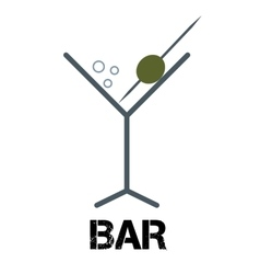 martini cocktail bar logo linear style glass vector image