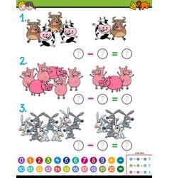 Maths subtraction educational task for children vector