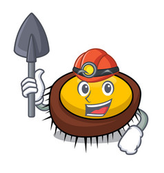 miner sea urchin mascot cartoon vector image