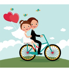 Newlyweds bike vector image