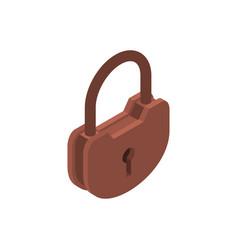old lock isolated big padlock on white background vector image
