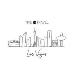 one single line drawing las vegas city skyline vector image