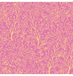 Pink and gold florals seamless pattern background vector image